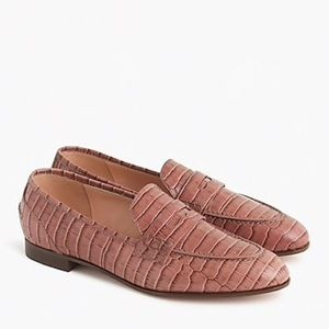 J. Crew Croc-embossed Academy Penny Loafer 8M